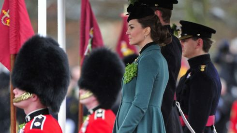 The Duchess of Cambridge visits the 1st Battalion Irish Guards to attend the St. Patrick's Day Parade at Mons Barracks, Aldershot. Photograph: Toby Melville/PA Wire