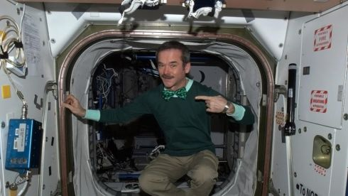 Astronaut Chris Hadfield celebrates St Patrick's Day from the International Space Station. Photograph: @cmdr_hadfield