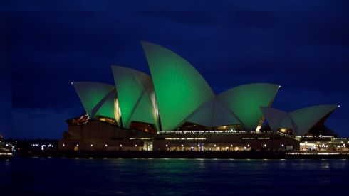 The Sydney Opera House goes green as part of a global initiative by Tourism Ireland which also sees the Pyramids of Giza, the Christ the Redeemer statue in Rio de Janeiro, the London Eye, Selfridges in London, Niagara Falls, the Prince's Palace of Monaco, Burj al Arab in Dubai and the Leaning Tower of Pisa,  turn a shade of green this weekend. Photograph: Jean-Pierre Bratanoff-Firgoff