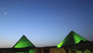 The Pyramids in Egypt go green for St Patrick's Day. Photograph: Kevin Wolahan