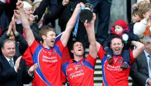 St Thomas' Robert Murray, Kenneth Burke and Enda Tannin lift the trophy after victory over Kilcormac-Killoughey in the AIB All-Ireland Club Senior Hurling  Final at Croke Park. Photograph: Ryan Byrne/Inpho