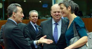 EU finance ministers in Brussels earlier this month.  Photograph: Eric Vidal