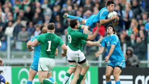 Italy's Edoardo Gori claims a high ball ahead of Ireland's  Devin Toner during the Six Nations match at  Stadio Olimpico in Rome. Photograph:  James Crombie/Inpho