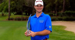 Kevin Streelman holds the trophy after winning the Tampa Bay Championship at the Innisbrook Resort and Golf Club  in Palm Harbor, Florida. Photograph: Sam Greenwood/Getty Images