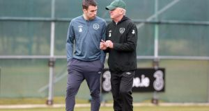 Republic of Ireland manager Giovanni Trapattoni talks to Seamus Coleman during squad training in Malahide. Photograph:  Donall Farmer/Inpho