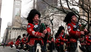 Bagpipe players march in the St. Patrick's Day parade in New York on Saturday. Photograph:   Nicole Bengiveno/The New York Times