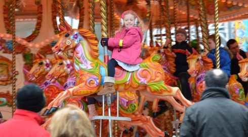Kate O'Brien, Rathgar, enjoying the funfair at Marrion Square, Dublin during the Monday Bank Holiday St. Patricks Festival. Photo: Dara Mac Donaill / THE IRISH TIMES