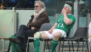 Brian O'Driscoll sits in the sin bin during the game against Italy. Photograph:    Niall Carson/PA