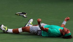 Rafael Nadal of Spain celebrates after defeating Juan Martin Del Potro of Argentina to win the men's final at  the BNP Paribas Open in Indian Wells, California. Photograph: Stephen Dunn/Getty Images.