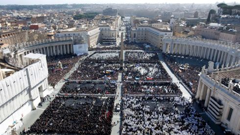 Crowds fill Saint Peter's Square for the inaugural mass of Pope Francis at the Vatican. Photograph: Paul Hanna/Reuters