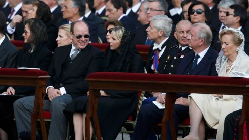 Monaco's Prince Albert and Princess Charlene sit with Belgium's King Albert and Queen Paola (R) before the inaugural mass of Pope Francis at the Vatican.  Photograph: Alessandro Bianchi/Reuters
