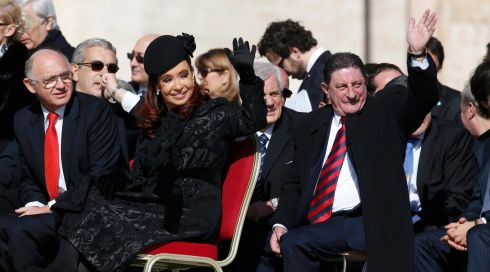 Argentina's President Cristina Fernandez de Kirchner (3rd L) waves after arriving for the inaugural mass of Pope Francis in Saint Peter's Square at the Vatican. Photograph: Alessandro Bianchi/Reuters