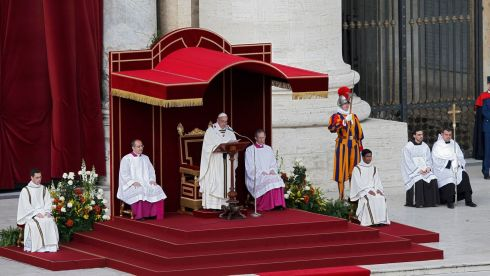 Pope Francis takes part in his inaugural mass in Saint Peter's Square at the Vatican.  Photograph: Tony Gentile/Reuters