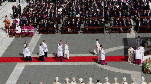 Pope Francis takes part in his inaugural mass in Saint Peter's Square at the Vatican. Photograph: Stefano Rellandini/Reuters
