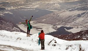 Tourists enjoying the latest snowfall, at Sally Gap, Co Wicklow, today. Photograph: Eric Luke/The Irish Times