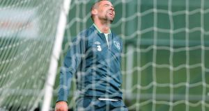 Jonathan Walters during training at Gannon Park yesterday. Photograph: Donall Farmer/Inpho