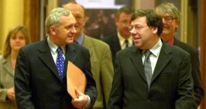 Former taoisigh Bertie Ahern and Brian Cowen. Their annual pensions will drop to ¤142,655 when 5 per cent cut is implemented. Photograph: Bryan O'Brien