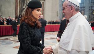 Argentine president Cristina Fernandez de Kirchner speaks to Pope Francis after his inauguration at the Vatican. She once likened his attitude to that of the Inquisition. Photograph: Reuters