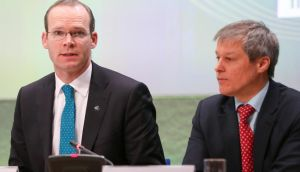 Minister for Agriculture, Food and the Marine Simon Coveney and European Commissioner for agriculture and rural development Dacian Ciolos at a meeting last week in Dublin. Photograph: Maxwells