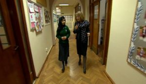 Headmistress Ruth Weeks shows Malala Yousufzai around Edgbaston High School for Girls in Birmingham yesterday. Photograph: Malala Press Office/PA Wire
