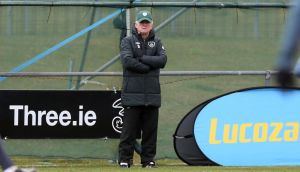 Giovanni Trapattoni watches on at Republic of Ireland squad training in Gannon Park, Malahide. Donall Farmer/Inpho