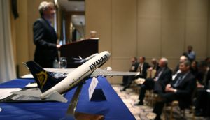 Ryanair chief executive Michael O'Leary speaks as he and Boeing Commercial Airplanes president Ray Conner hold a press conference and sign a $15.6 billion purchase agreement  in New York City. Photograph: John Moore/Getty Images.