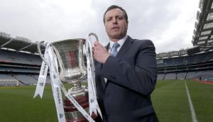 Ireland manager Paul Earley with the Cormac McAnallen Cup. Photograph: Lorraine O'Sullivan/Inpho