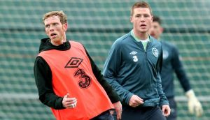 "Paul Green and James McCarthy in action during training in Malahide yesterday. The Leeds man lined out for the ""probables"" in training before the departure for Stockholm. Photograph: James Crombie/Inpho"