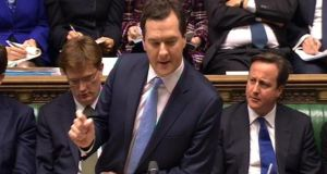 Chancellor George Osbourne delivers his budget to the House of Commons in Westminster.