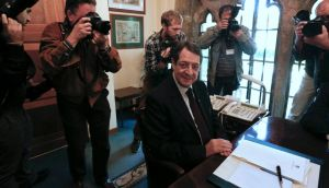 Cyprus president Nicos Anastasiades prepares to chair a meeting with party leaders at the presidential palace in Nicosia yesterday. Photograph: Reuters