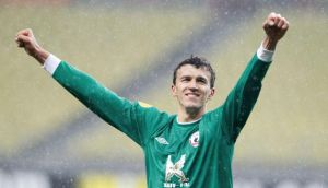 Rubin Kazan's Roman Eremenko celebrates victory over Levante at the Luzhniki stadium in Moscow earlier this month. Photograph: Sergei Karpukhin/Reuters
