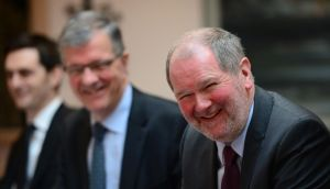 National Treasury Asset Management chief executive John Corrigan (right) at NTMA briefing at the Treasury Building in Dublin. At left is Rossa White and centre Oliver Whelan. Bryan O'Brien / THE IRISH TIMES