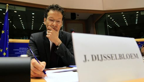 Eurogroup Chairman Jeroen Dijsselbloem testifies before the Economic and Monetary Affairs committee at the European Parliament in Brussels. Large depositors in Cyprus' troubled banks must pay more towards an international bailout for the Mediterranean island to avoid placing an unfair burden on small savers, Mr Dijsselbloem said after Cyprus voted against the terms of an EU-IMF-ECB proposal.    Photograph: Yves Herman/Reuters