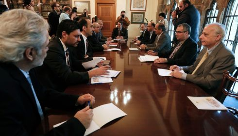 Cyprus' president Nicos Anastasiades (centre) chairs a meeting with party leaders and governor of the Central Bank of Cyprus at the presidential palace in Nicosia. Photograph: Yorgos Karahalis/Reuters