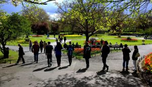 Tourists walk in St Stephen's Green in Dublin. Photograph: David Sleator/The Irish Times