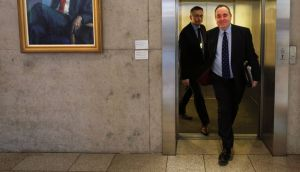 Scottish First Minister Alex Salmond arrives for First Ministers Question Time  at the Scottish Parliament in Edinburgh. Photograph: David Cheskin/PA Wire