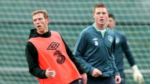 Paul Green and James McCarthy during Irleand training in Malahide earlier this week.  Photograph: James Crombie/Inpho
