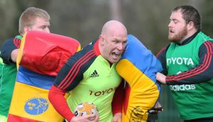 Paul O'Connell during Munster training earlier this week. Photograph: Lorraine O'Sullivan/Inpho