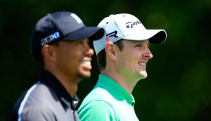Tiger Woods  and Justin Rose walk down the 9th hole at Bay Hill. Photograph: Sam Greenwood/Getty Images