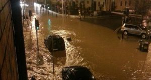 Flooding in the main street of Blackpool, Cork last night. Photograph: Stephen Spillane via Twitter
