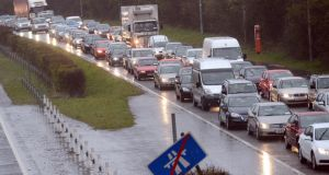 Traffic on the N11 outside Bray this morning where flooding caused many motorists to be stuck for more than three hours. Photograph: Cyril Byrne/The Irish Times