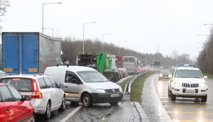 A traffic jam is seen on the M11 due to flooding on the route. The route has been closed twice today between junctions 5 and 6. Photograph: Collins