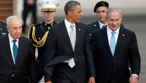 Israeli president Shimon Peres, US president Barack Obama, Israeli prime minister Benjamin Netanyahu walk together prior to Mr Obama departing from Ben Gurion International Airport today, concluding his three day visit to Israel and the West Bank. Photograph: Lior Mizrahi/Getty Images