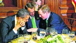 The ties that bind: Barack Obama, John Boehner and Enda Kenny on St Patrick's Day. Photograph: Marty Katz