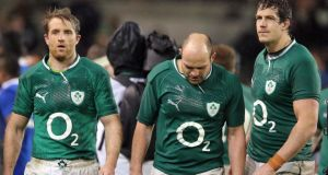 Luke Fitzgerald, Rory Best and Mike McCarthy look dejected during the Six Nations, a tournament which could be the last for some players. Photograph: Dan Sheridan/Inpho