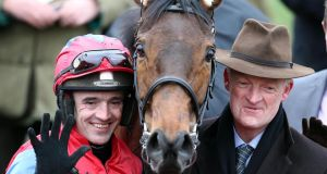 Willie Mullins with jockey Ruby Walsh at the Cheltenham festival.