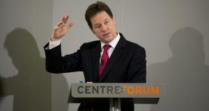 Deputy prime minister Nick Clegg taking questions from journalists after making a speech on immigration in London yesterday. Photograph: Getty Images