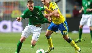 Republic of Ireland midfielder James McCarthy turns Sweden's Alexander Kacaniklic during the Group C World Cup qualifier in Stockholm. Photograph: Adam Davy/PA
