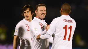 Wayne Rooney of England celebrates his goal with Ashley Young. Photograph: Mike Hewitt/Getty Images