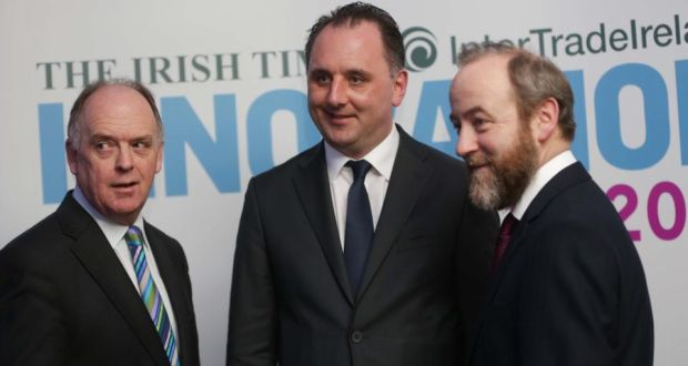 Irish Times managing director Liam Kavanagh; Edmond O'Reilly from Trustwater, the overall Innovation award winner; and Thomas Hunter McGowan, CEO, Inter Trade Ireland, at the award ceremony on Friday night.